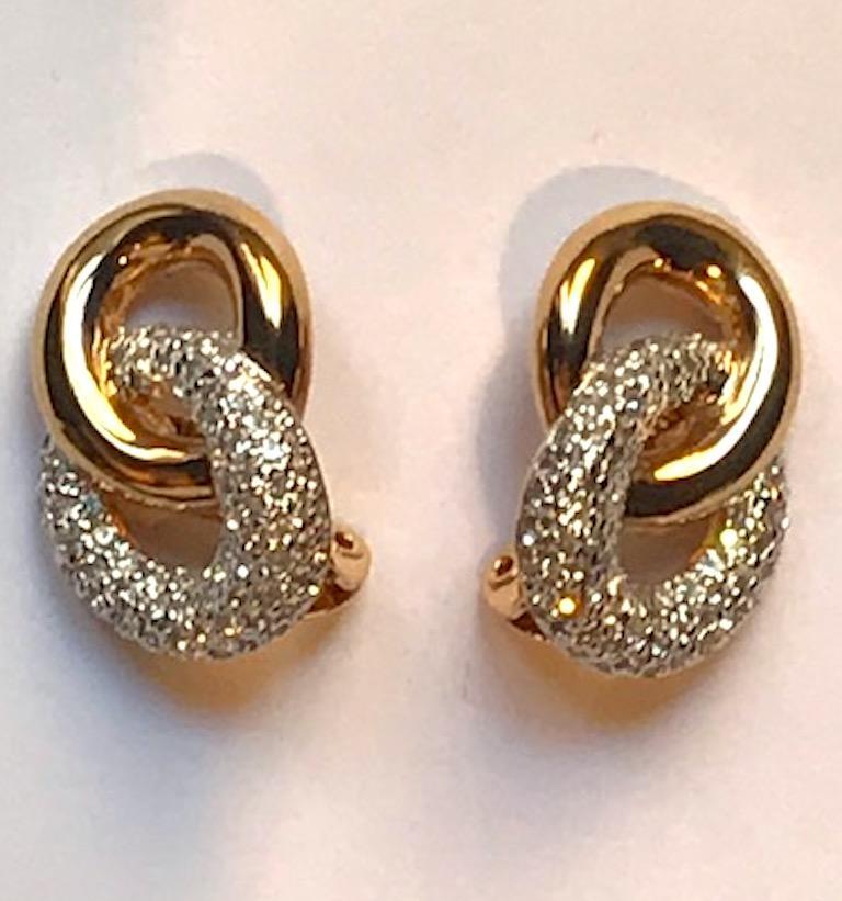 Judith Lieber Gold & Rhinestone Link Earrings For Sale 10