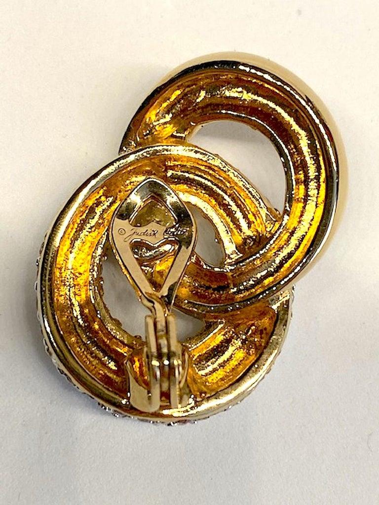Women's Judith Lieber Gold & Rhinestone Link Earrings For Sale