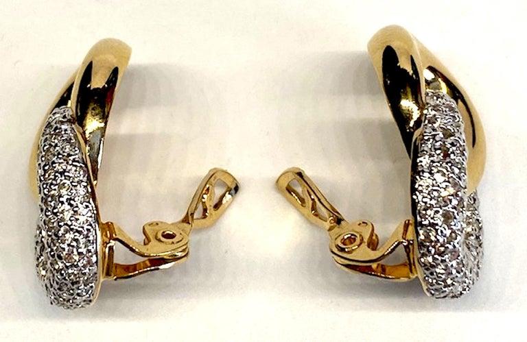 Judith Lieber Gold & Rhinestone Link Earrings For Sale 1