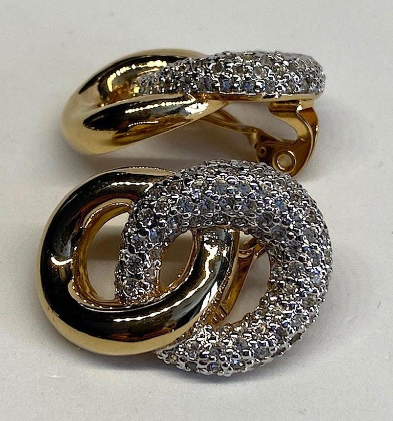 Judith Lieber Gold & Rhinestone Link Earrings For Sale 2