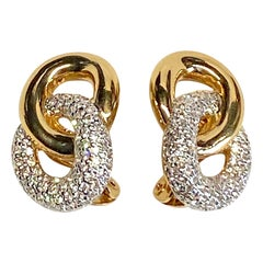 Judith Lieber Gold & Rhinestone Link Earrings
