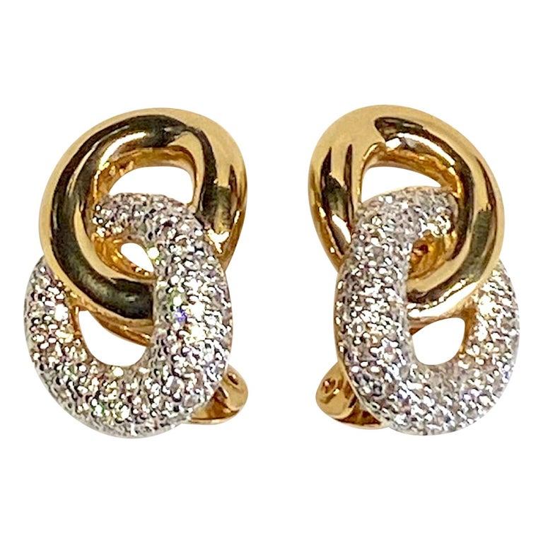 Judith Lieber Gold & Rhinestone Link Earrings For Sale