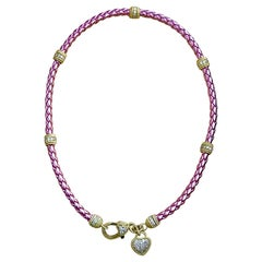 Judith Ripca Gold Tone Sterling Silver and CZ Pink Rope Heart Necklace