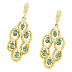 Judith Ripka 10.5 Carat Tourmaline and 1.8 Carat Diamond Earrings 18 Karat Gold