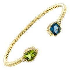 Judith Ripka 14 Karat Yellow Gold Diamond and Gemstone Hinged Bangle Bracelet