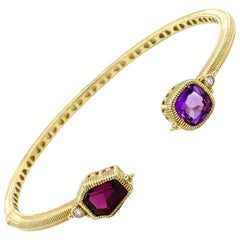 Judith Ripka 14 Karat Yellow Gold Diamond and Gemstone Hinged Bangle Bracelet