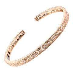 Judith Ripka 14 Karat Yellow Gold Hinged Diamond Bangle Bracelet