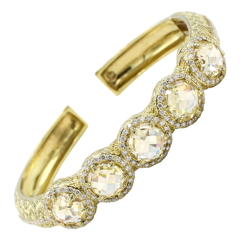 Judith Ripka 18 Karat Diamond and Citrine Bangle Bracelet