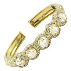 Judith Ripka 18 Karat Diamond and Citrine Bangle Bracelet