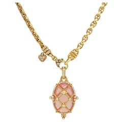 Judith Ripka 18 Karat Gold Diamond Chain Necklace with Pink Crystal Pendant