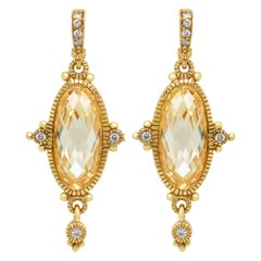 Judith Ripka 18 Karat Gold Elongated Oval Citrine Diamond Drop Dangle Earrings