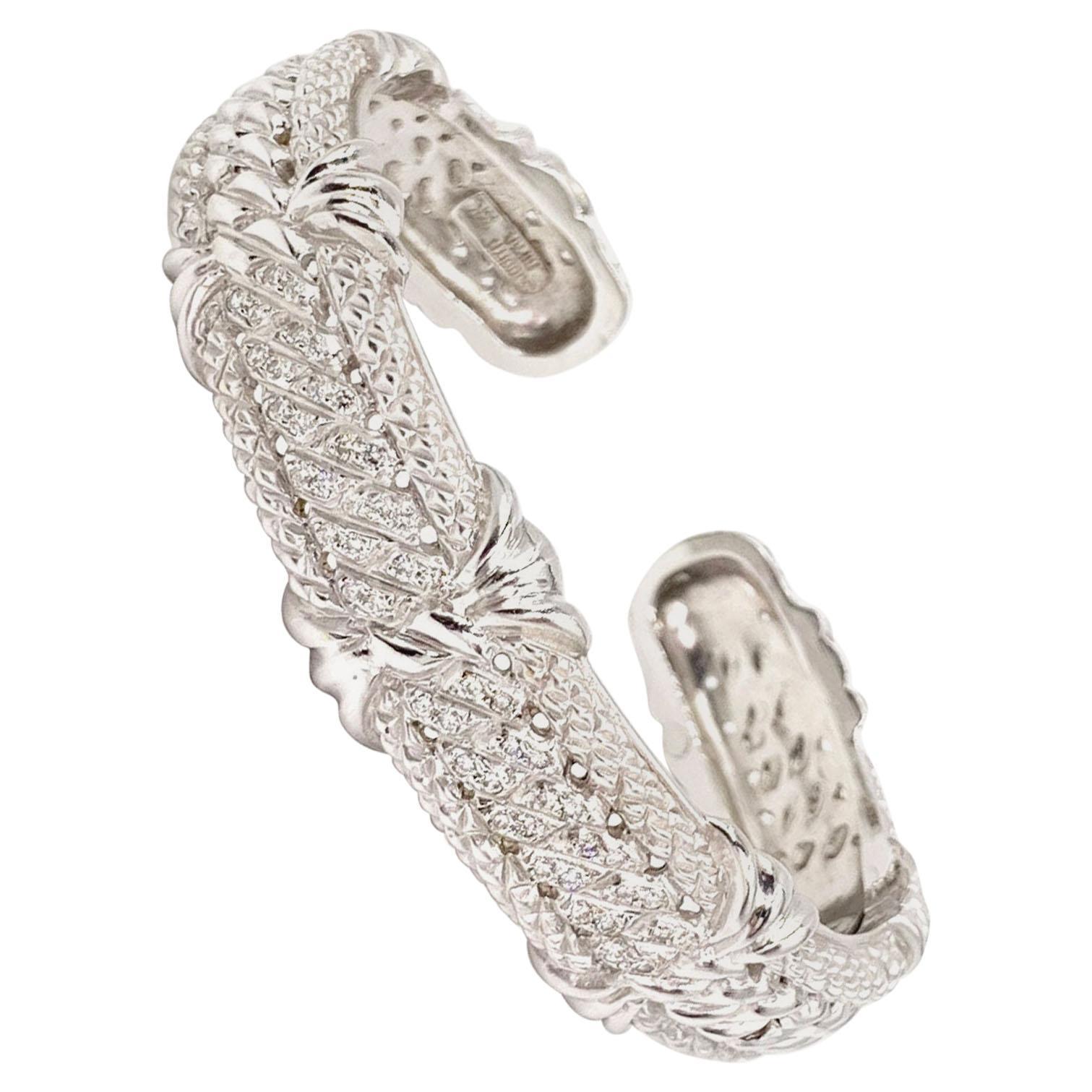 Judith Ripka 18 Karat White Gold and Diamond Carved Cuff Bracelet