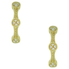 Judith Ripka 18 Karat Yellow Gold 0.50 Carat Diamond Hoop Earrings