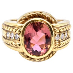 Judith Ripka 18 Karat Yellow Gold, 2.0ct Pink Tourmaline and 0.12ct Diamond Ring