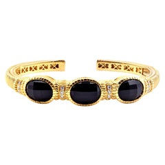 Judith Ripka 18 Karat Yellow Gold Black Onyx and Diamond Cuff Bracelet
