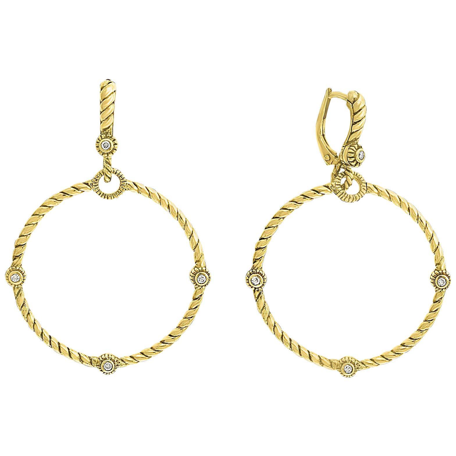 Judith Ripka 18 Karat Yellow Gold Diamond Dangle Chandelier Hoop Earrings