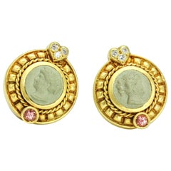 Judith Ripka 18 Karat Yellow Gold Diamond Pink Tourmaline Cameo Stud Earrings