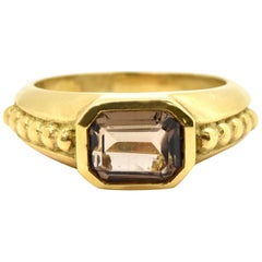 Judith Ripka 18 Karat Yellow Gold Smoky Quartz Ring