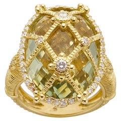 Judith Ripka 18k Gold Lemon Quartz & Diamond Lattice Ring