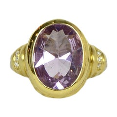 Judith Ripka 18K Gold & Sterling Silver Purple Stone & Diamond Ring sz 6.5