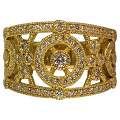 Judith Ripka 18k Yellow Gold and Diamond Band Ring