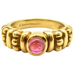 Judith Ripka 18 Karat Yellow Gold and Pink Tourmaline Band