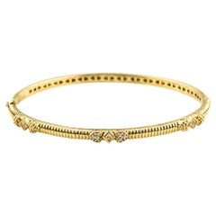 Judith Ripka 18 Karat Yellow Gold and Diamond Hinged Romance Bangle Bracelet