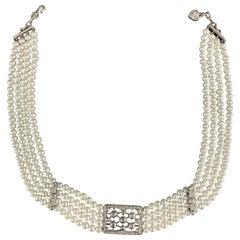JUDITH RIPKA 4 Strand Pearl 18k White Gold Diamond Dutchess Choker