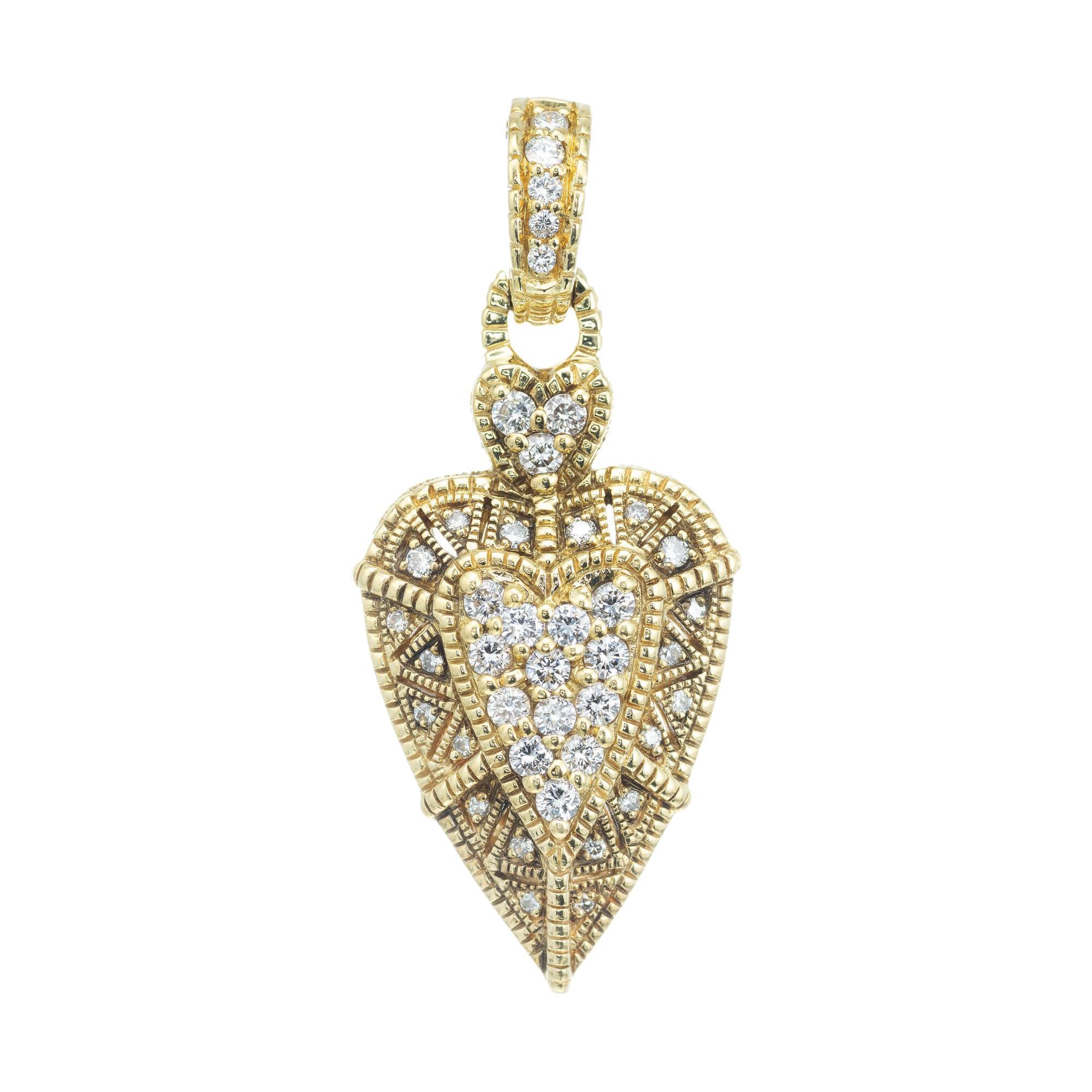 Judith Ripka .50 Carat Diamond Yellow Gold Heart Pendant Enhancer
