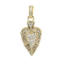 Judith Ripka .50 Carat Diamond Yellow Gold Heart Pendant Enhancer