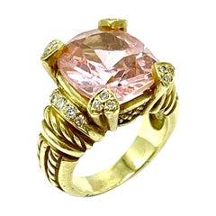 Judith Ripka 6.89 Carat Pink Quartz and Diamond Yellow Gold Cocktail Ring