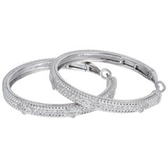 Judith Ripka .72 Carat Diamond White Gold Hoop Earrings