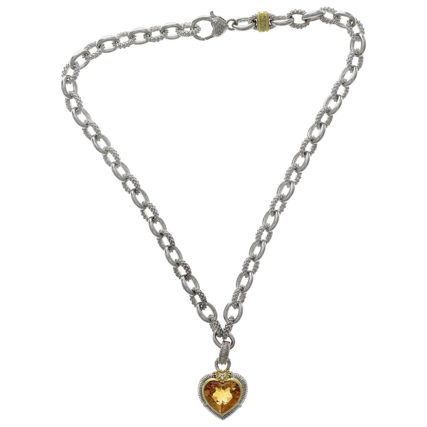 Judith Ripka 925 Silver 18 Karat Gold Diamond Citrine Heart Pendant Necklace