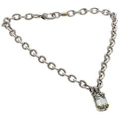 Judith Ripka 925 Silver 18 Karat Gold Diamond Green Crystal Pendant Necklace
