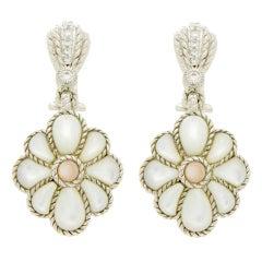 Judith Ripka 925 Sterling Silver Mother-of-Pearl Diamonique Earrings