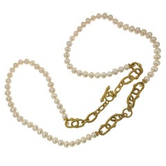 Judith Ripka 925 Sterling Silver Pearl with Extension Bracelet Necklace