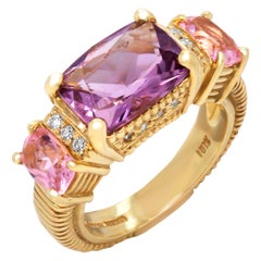 Judith Ripka Amethyst and Kunzite Yellow Gold and Diamond Three-Stone Ring