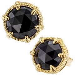 Judith Ripka Black Onyx Yellow Gold Stud Earrings