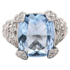 Judith Ripka Blue CZ and 0.45 CTW Dia Ring in 18K