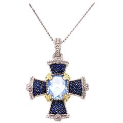 Judith Ripka Blue Topaz 18 Karat Gold Sterling Silver Cross Pendant Necklace