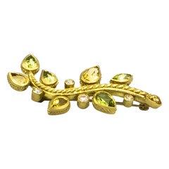 Judith Ripka Brooch Citrine 2 Carat Peridot 2 Carat Diamonds 0.15 Carat 18K Gold