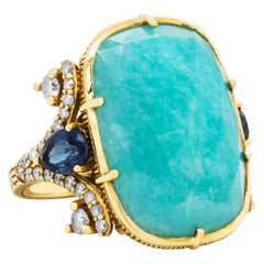 Judith Ripka Cabochon Aquamarine Pear Shape Blue Sapphire 18k Gold Diamond Ring