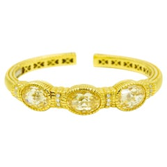 Judith Ripka Canary Crystal and Diamond Yellow Gold Cuff Bracelet