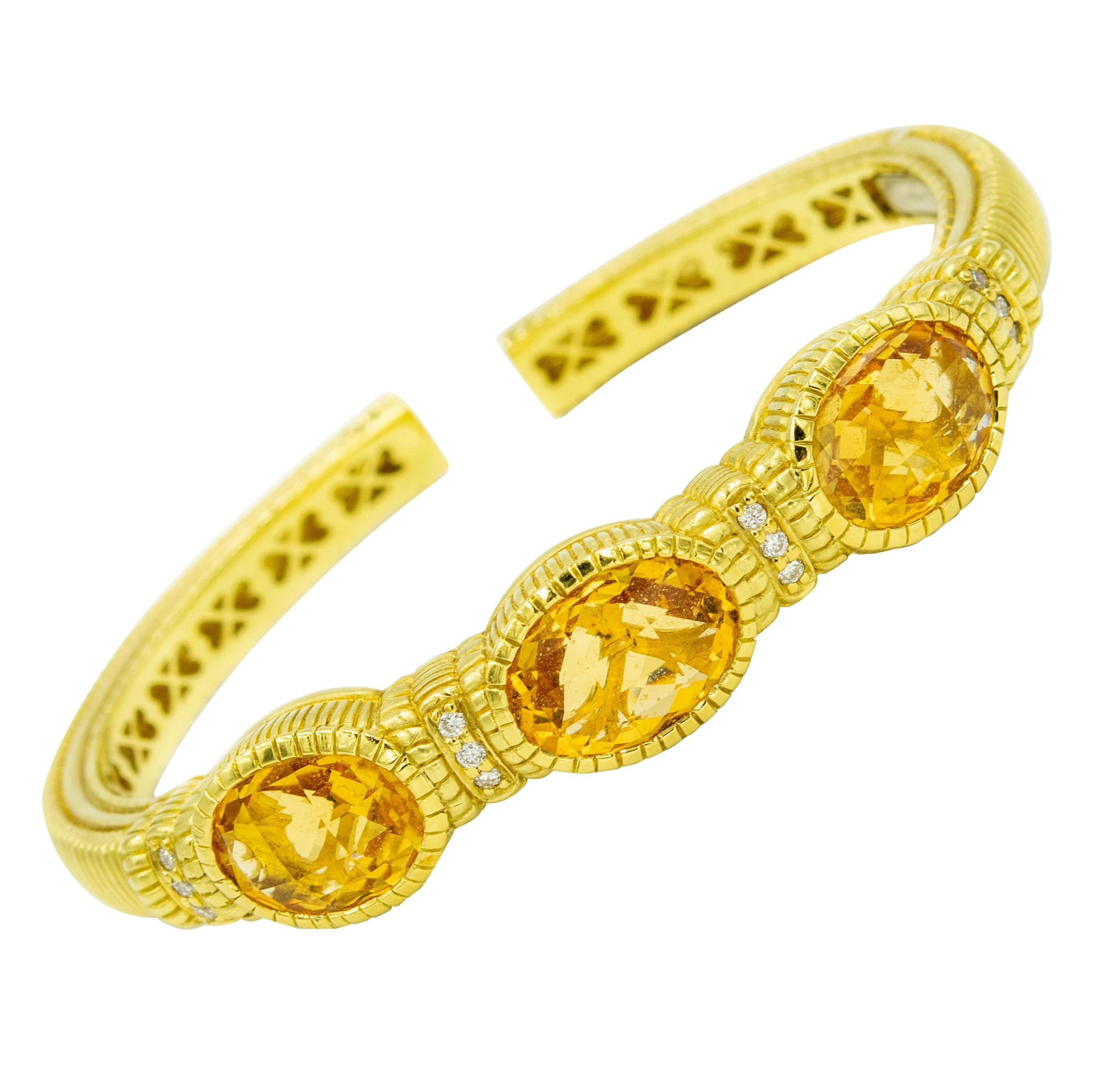 Judith Ripka Citrine and Diamond Yellow Gold Cuff Bracelet