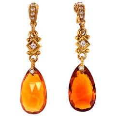 Judith Ripka Citrine Diamond 18 Karat Yellow Gold Drop Earrings
