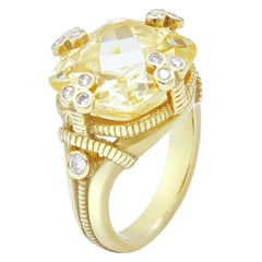 Judith Ripka Citrine Diamond Ring