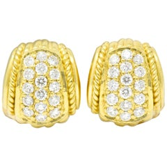 Judith Ripka Contemporary 0.80 Carat Diamond 18 Karat Gold Pave Huggie Earrings
