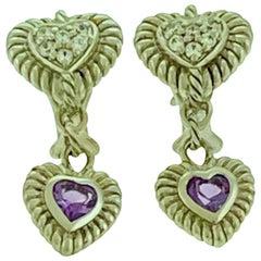 JUDITH RIPKA CZ Sterling Silver Heart Pierced Earrings w Amethyst 9.9 grams