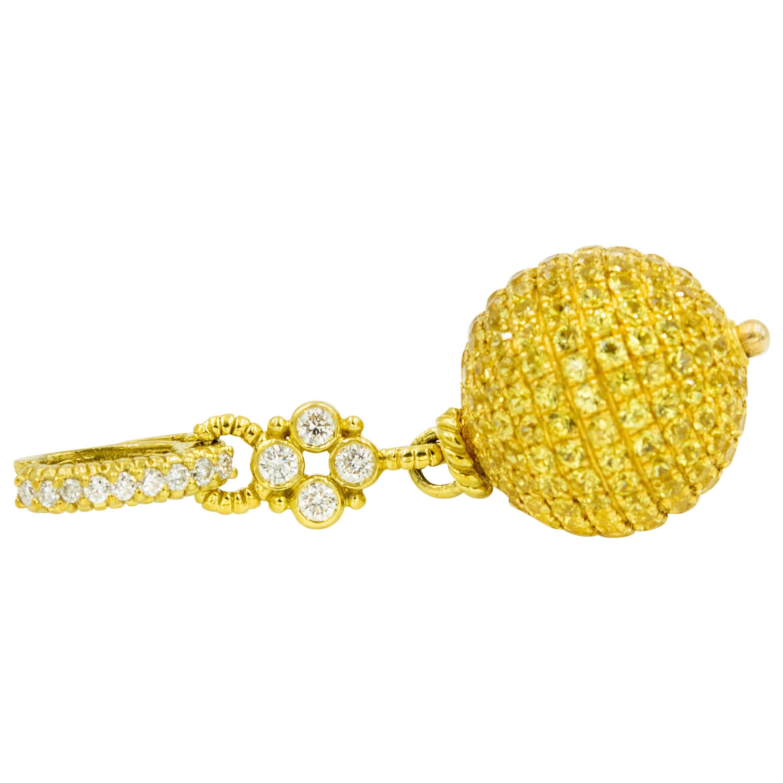 Judith Ripka Diamond and Canary Crystal Gold Truffle Ball Charm Pendant