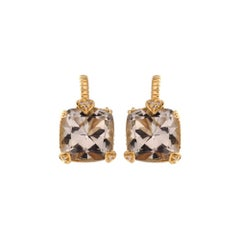 Judith Ripka Diamond Blue Quartz Gold Earrings
